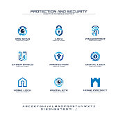 Protection and security creative symbols set, font concept. Home, people secure abstract business pictogram. Safe lock, padlock shield icon