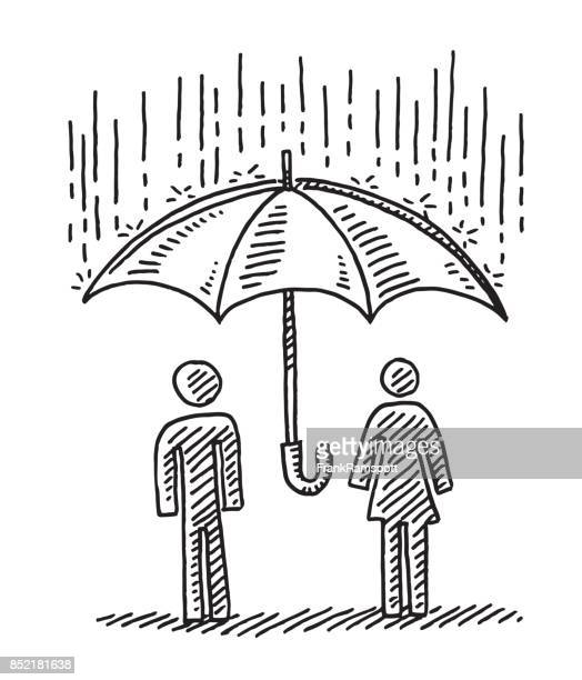 protection concept umbrella couple drawing - pen and ink stock illustrations