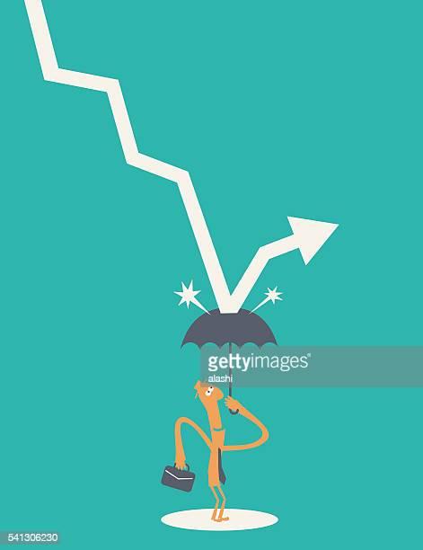 危機からの保護と負の統計(フォーリングダウン矢印)