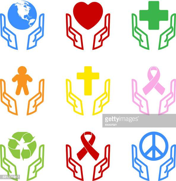 protection icons set - aids stock illustrations, clip art, cartoons, & icons