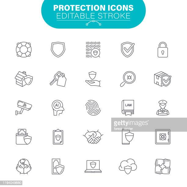 protection icons - threats stock illustrations