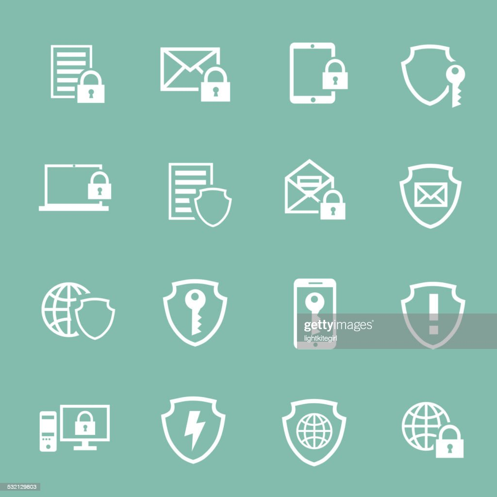 Protection Information technology security pictograms collection of computer and safety