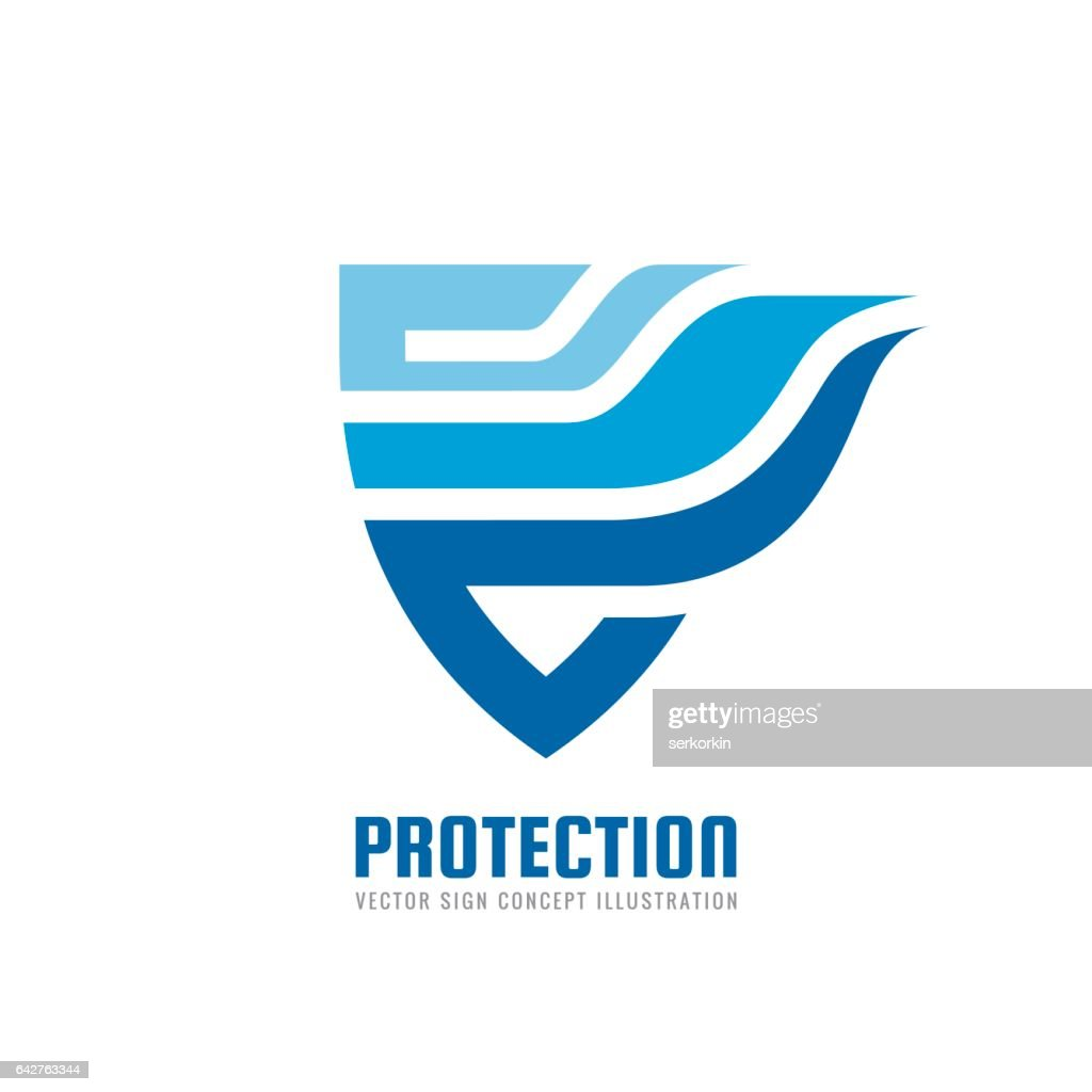 Protection - vector logo concept illustration. Abstract shield with wing creative sign. Design element.