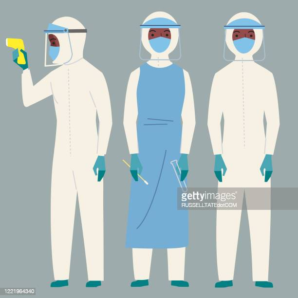 protective clothing - pathogen transmission stock illustrations