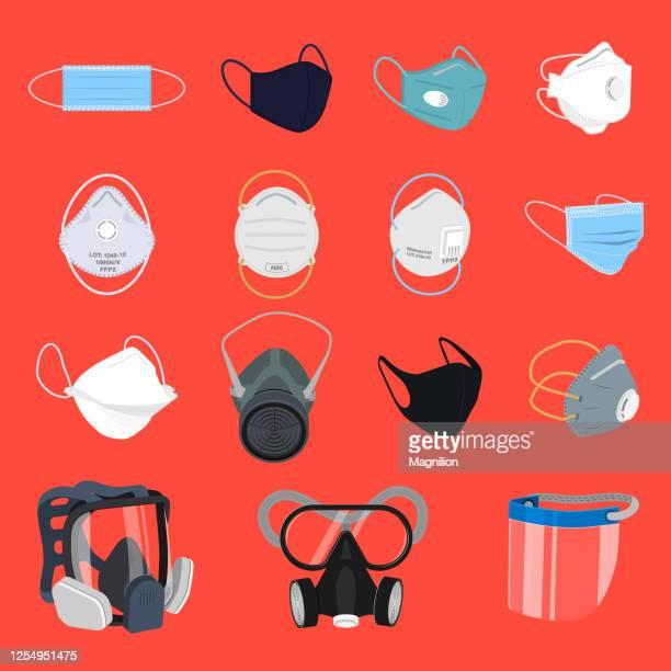 protective face mask and respirator set - avian flu virus stock illustrations