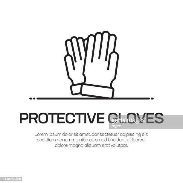 protective gloves vector line icon - simple thin line icon, premium quality design element - housework stock illustrations, clip art, cartoons, & icons