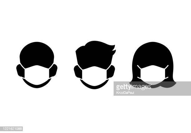 ilustrações de stock, clip art, desenhos animados e ícones de protective mask icons - coronavirus