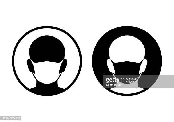 illustrations, cliparts, dessins animés et icônes de icônes de masque protecteur - masque de protection