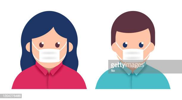 schützende atemschutzmaske - mundschutz stock-grafiken, -clipart, -cartoons und -symbole