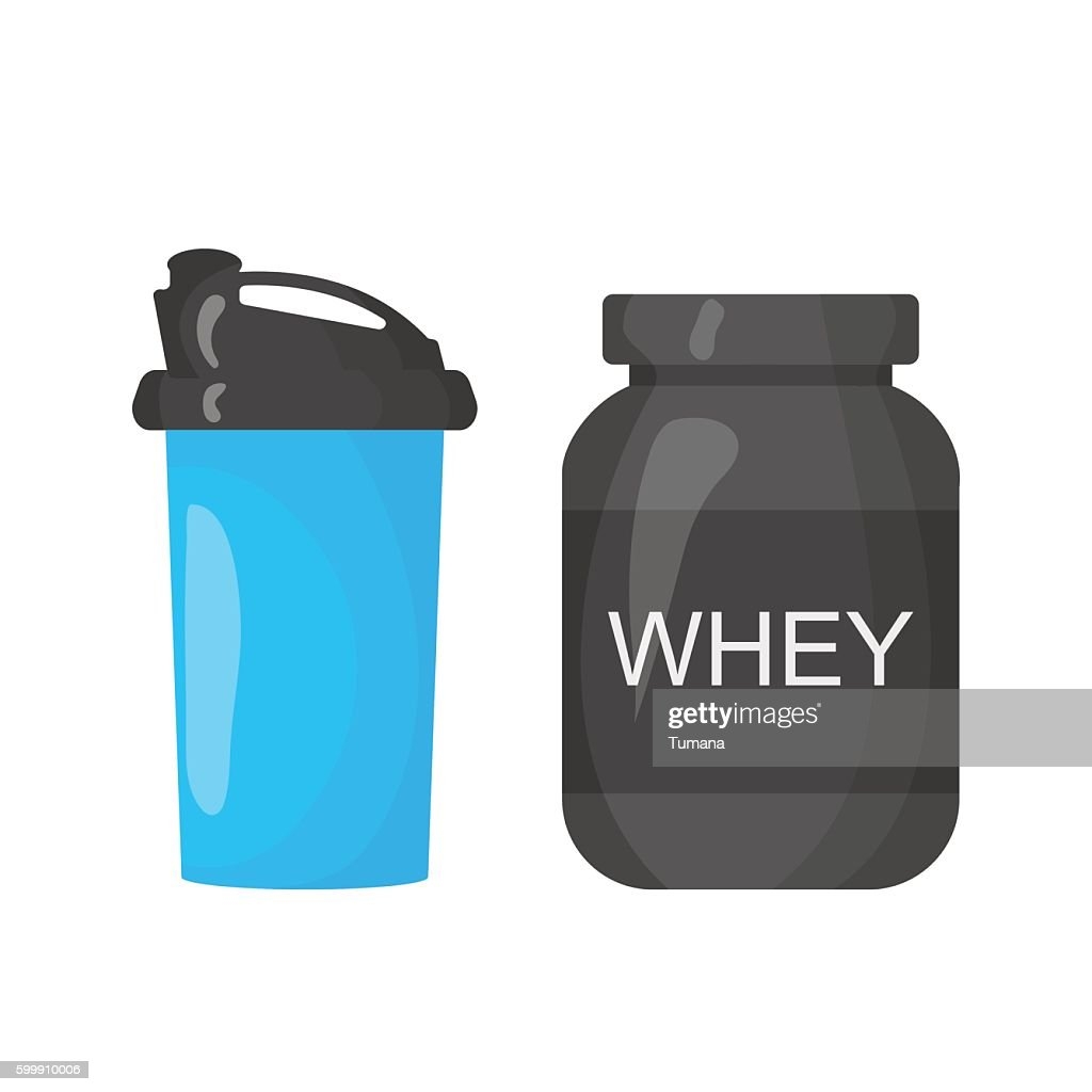 Protein and shaker icon isolated on the white background