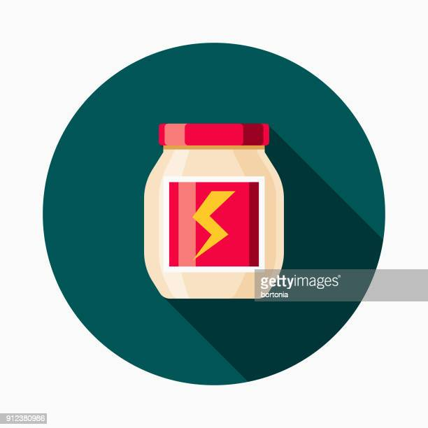 protein powder flat design fitness & exercise icon - nutritional supplement stock illustrations, clip art, cartoons, & icons