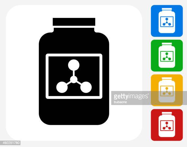 protein powder icon flat graphic design - nutritional supplement stock illustrations, clip art, cartoons, & icons