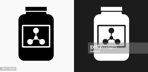 protein powder icon on black and white vector backgrounds - powder paint stock illustrations