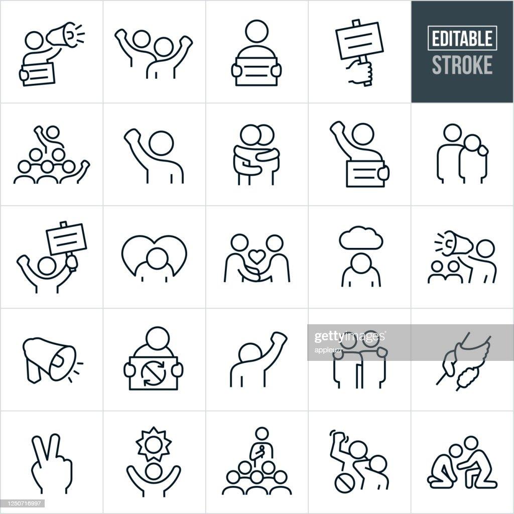 Ícones da linha fina de protesto e demonstração - Traçado Editável : Ilustração
