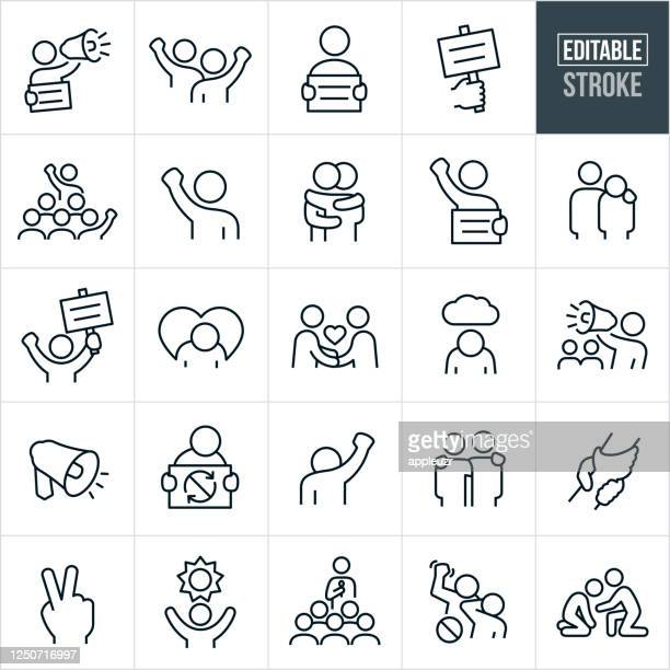 protest and demonstration thin line icons - editable stroke - respect stock illustrations