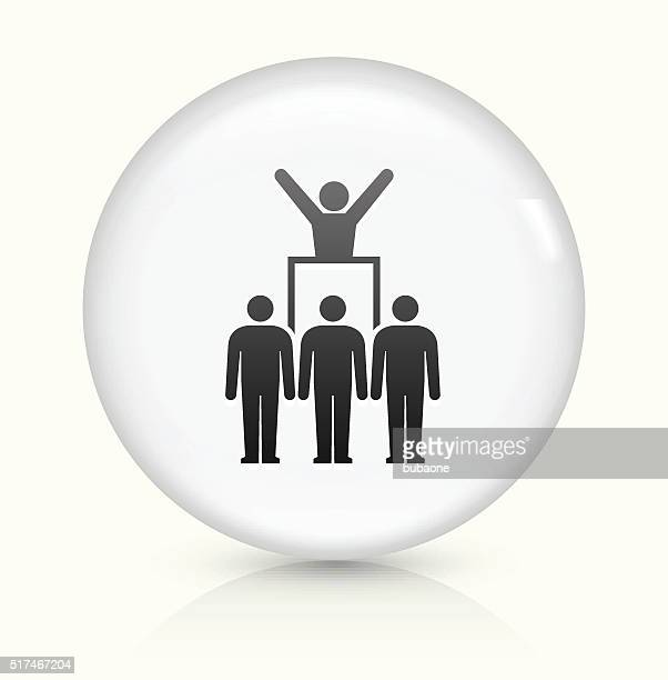 protest and leader icon on white round vector button - political rally stock illustrations, clip art, cartoons, & icons