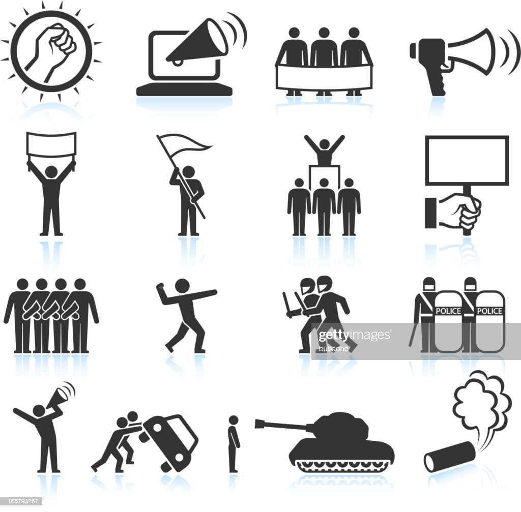 Protest black and white royalty free vector icon set