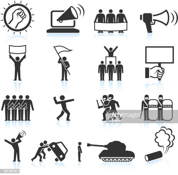 protest black and white royalty free vector icon set - ordering stock illustrations, clip art, cartoons, & icons