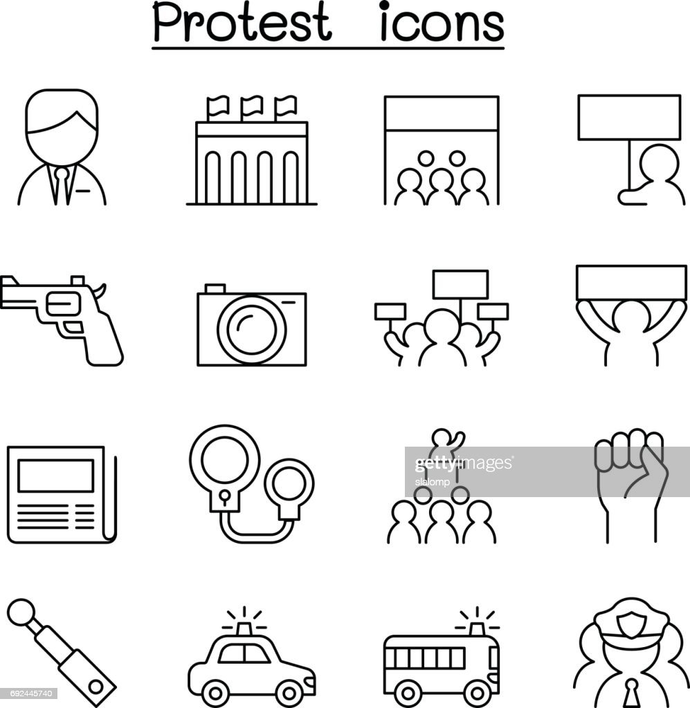 Protest icon set in thin line style