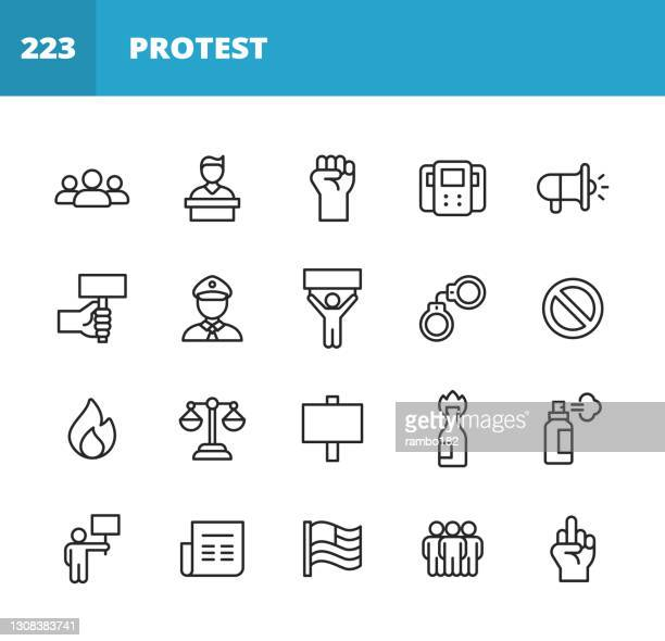 protest line icons. editable stroke. pixel perfect. for mobile and web. contains such icons as crowd, speech, justice, fist, banner, police, law, flag, gun, violence, location, politics, social justice, equality, diversity, government, freedom. - activist icon stock illustrations