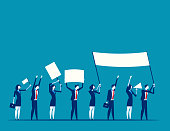 Protest. Men holding flags in a row. Concept business vector illustration.