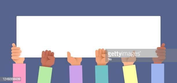 illustrazioni stock, clip art, cartoni animati e icone di tendenza di protest people holding sign - giustizia sociale