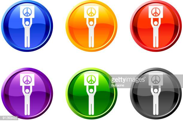 protest piece sign button royalty free vector art - black civil rights stock illustrations, clip art, cartoons, & icons