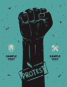 Protest poster, raised fist held in protest
