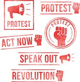 Protest, Revolution, Speak Out - rubber stamps