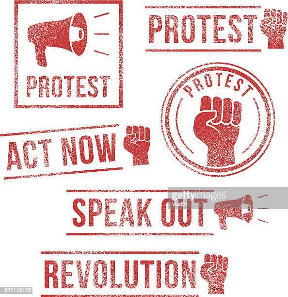 protest, revolution, speak out - rubber stamps - revolution stock illustrations, clip art, cartoons, & icons
