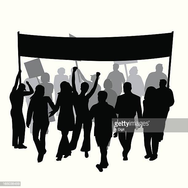 protest strike marching vector silhouette - protest stock illustrations, clip art, cartoons, & icons