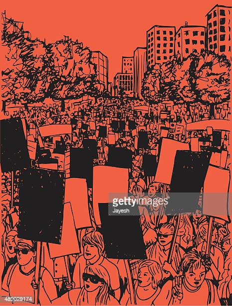 protest - sign language stock illustrations, clip art, cartoons, & icons