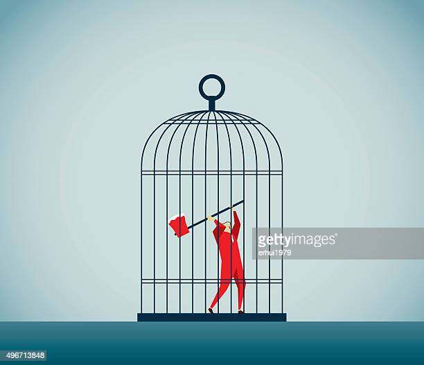 protest - cage stock illustrations, clip art, cartoons, & icons