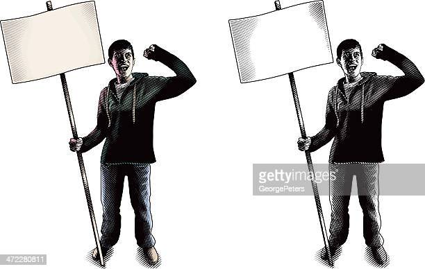 protester with blank sign yelling - political rally stock illustrations, clip art, cartoons, & icons
