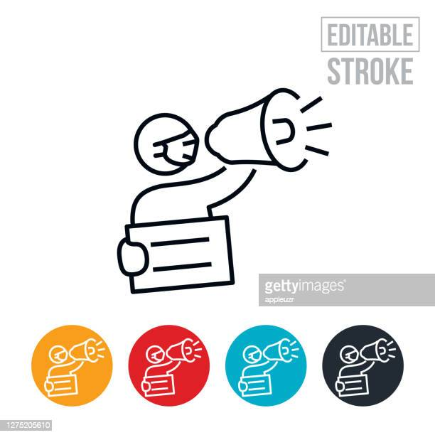 protester with bullhorn and sign wearing face mask thin line icon - editable stroke - activist icon stock illustrations