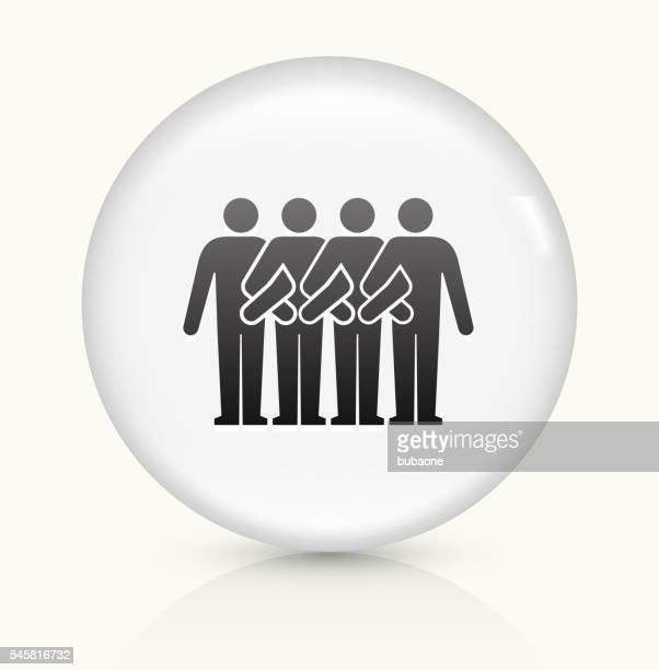 protesters march icon on white round vector button - political rally stock illustrations, clip art, cartoons, & icons