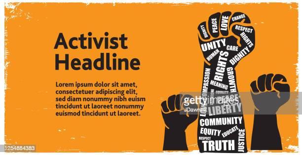 抗議者や活動家は、アクションワードウェブバナーテンプレートを取って空中で手を差し伸べ - 活動家点のイラスト素材/クリップアート素材/マンガ素材/アイコン素材