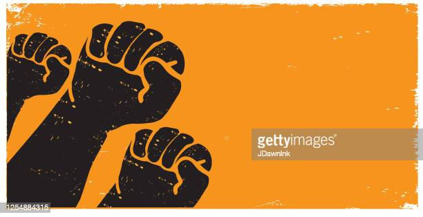 protesters or activist hands in the air with texture - protest stock illustrations