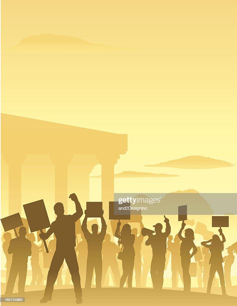 Protesters Scene : stock illustration