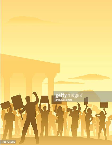 protesters scene - political rally stock illustrations, clip art, cartoons, & icons