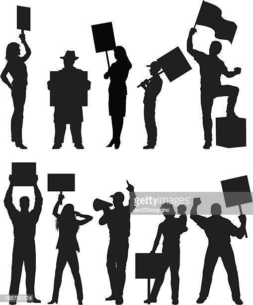 protesters silhouettes - political rally stock illustrations, clip art, cartoons, & icons