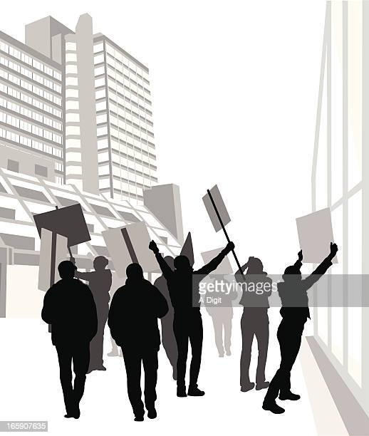 protesters vector silhouette - protestor stock illustrations, clip art, cartoons, & icons
