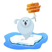 Protesting harp seal