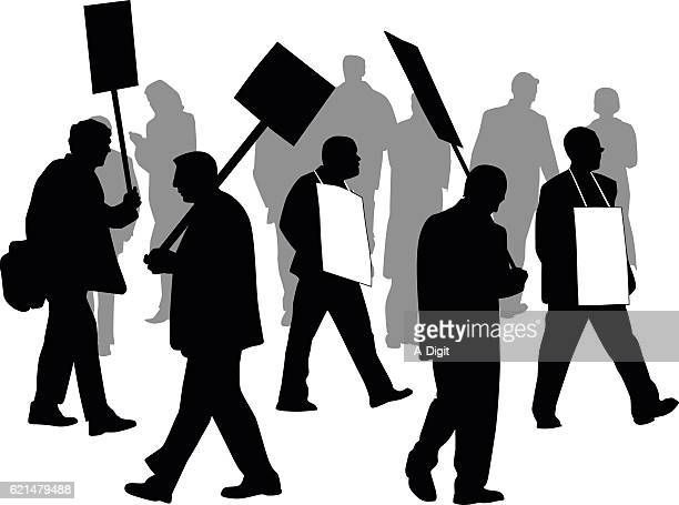 protesting in the streets vector silhouette - protestor stock illustrations, clip art, cartoons, & icons