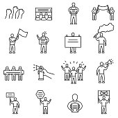 Protesting people icons set. Editable stroke