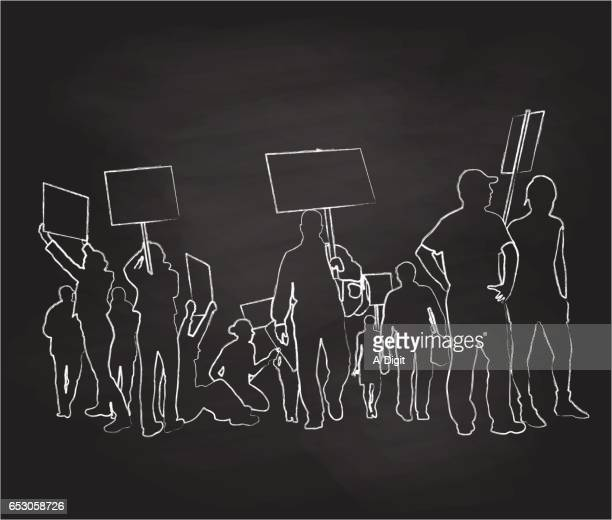 protesting signs - striker stock illustrations