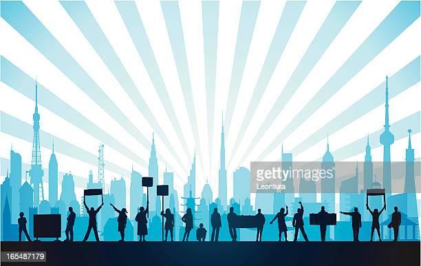 protestors in a blue city - protestor stock illustrations, clip art, cartoons, & icons