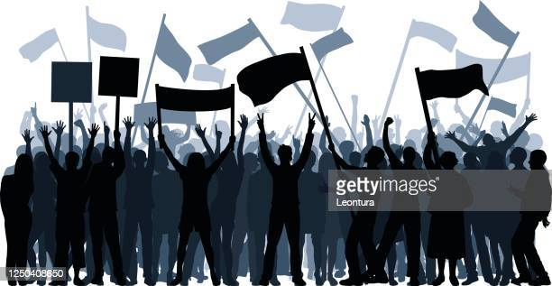 protestors (each person is complete and moveable) - protest stock illustrations