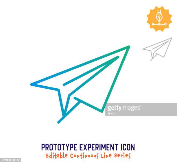 prototype experiment continuous line editable icon - imagination stock illustrations