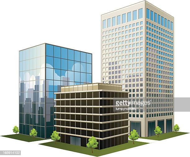 a prototype of three office buildings on a white background - skyscraper stock illustrations
